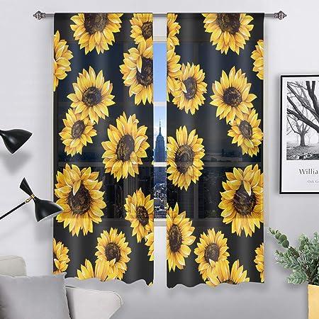 Amazon Com Qh Beautiful Sunflower Black Window Sheer Curtains For Living Room Bedroom Kids 55 W X 78 L Set Of 2 Panels Furniture Decor
