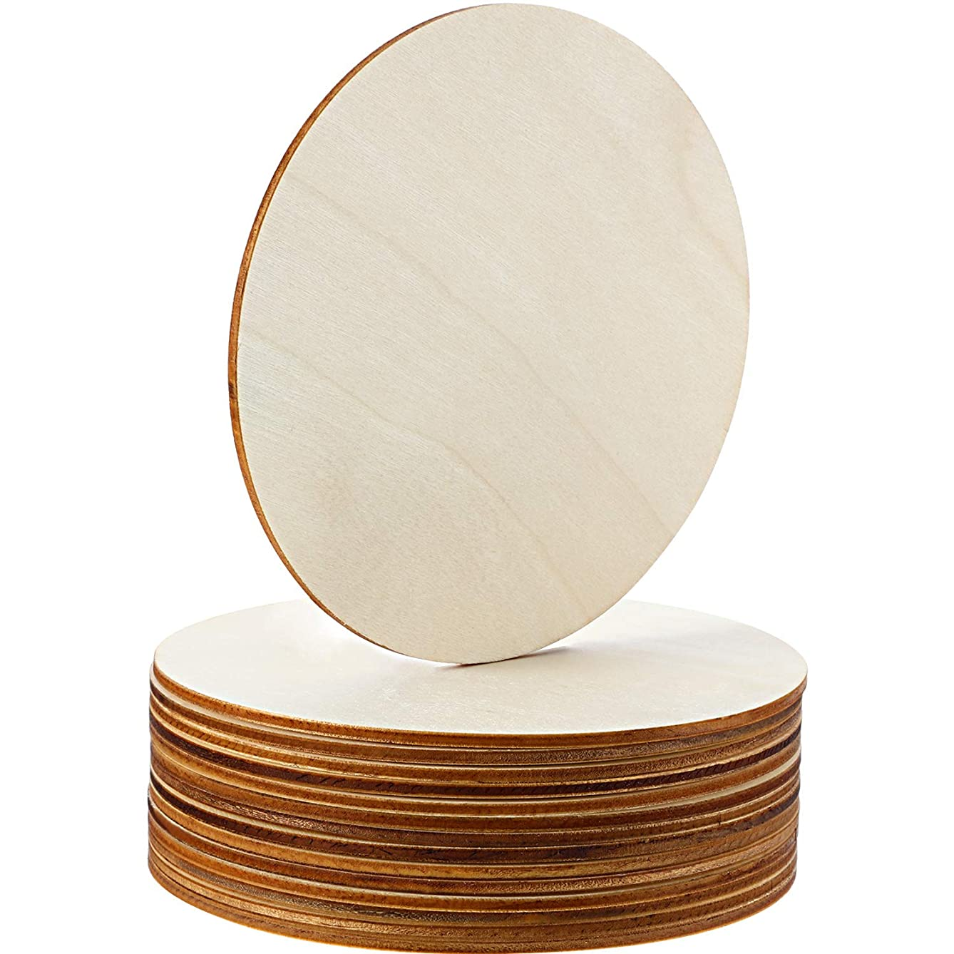 Boao Unfinished Wood Circle Round Wood Pieces Blank Round Ornaments Wooden Cutouts for DIY Craft Project, Decoration, Laser Engraving Carving, 1/8 Inch Thickness (5 Inch Diameter, 15 Pieces)