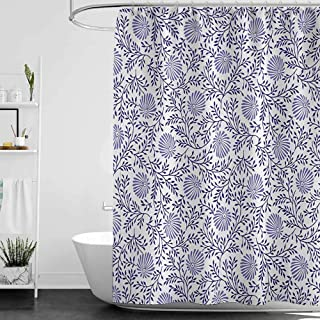 shower curtains for bathroom fabric black and gray Floral,Japanese Traditional Bluebells with Curved Flourishing Spring Branches,Dark Blue Muave White,W69