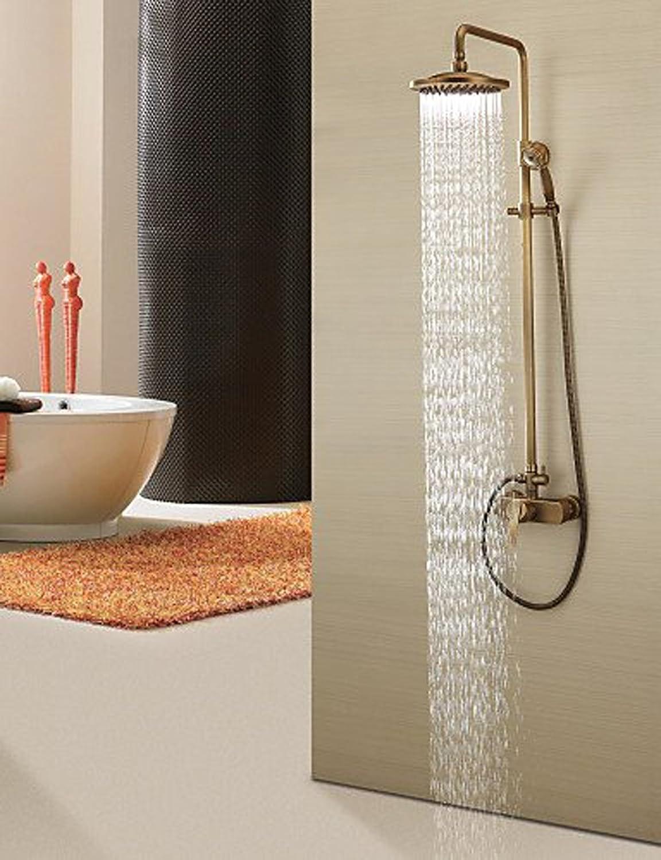 Duschsystem Wasserhahn Duscharmaturen - Antik - Handdusche inklusive   Regendusche - Messing (Antikes Messing)