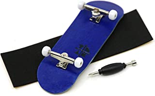 Teak Tuning Prolific Complete Fingerboard with Upgraded Components - Pro Board Shape and Size, Bearing Wheels,and Trucks - 32mm x 97mm Handmade Wooden Board - Blue Blizzard Edition