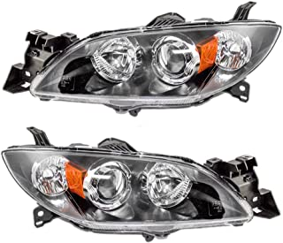 Driver and Passenger Halogen Headlights Headlamps Replacement for Mazda 3 Mazda3 BN8P510L0D BN8P510K0D