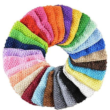 4x Baby Girls Slim Crochet Headband Hair Bands Stretchy Bandeau Headbands Black