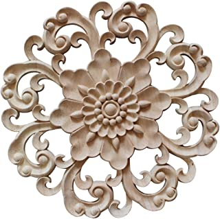 Enerhu Wood Carved Applique Round Furniture Corner Onlay Wall Unpainted for Home Decor #4 Diameter 5.9 Inch