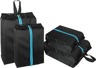 MISSLO Waterproof Zippered Travel Shoe Bags For Men Women (4 Pack, Black)