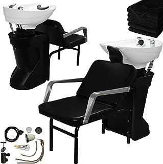 Model White Ceramic Adjustable Shampoo Bowl Backwash Station with Triple-Certified Vacuum Breaker