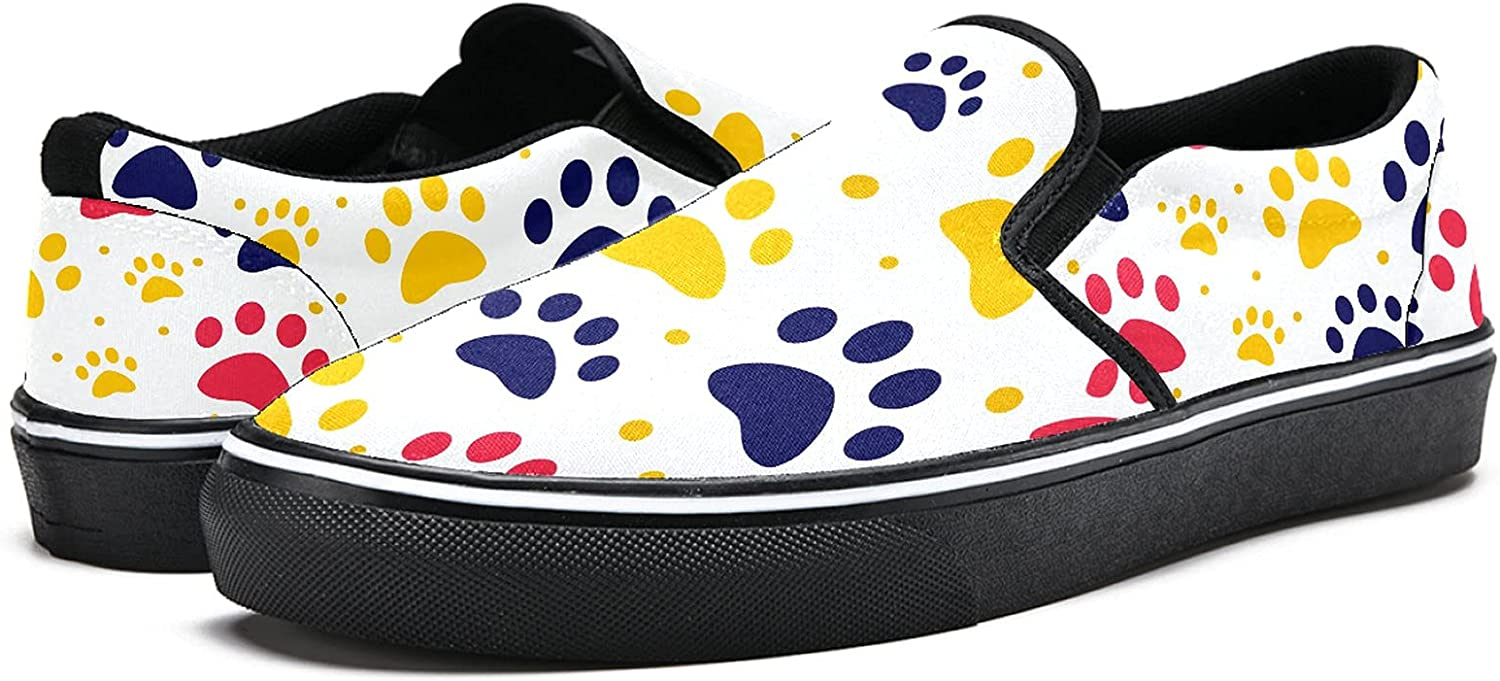 Men's Classic Slip-on Canvas Shoe Fashion Sneaker Casual Walking Shoes Loafers 5 Cat Or Dog Paw