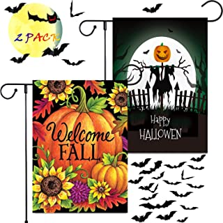 BonneChance Happy Halloween Garden Flag + Welcome Fall Yard Flag Halloween Decorations Outdoor Pumpkin Scarecrow Sunflowers Burlap House Flags Double Sided 12 x 18 Inch Without Yard Flag Stand (2 Pcs)