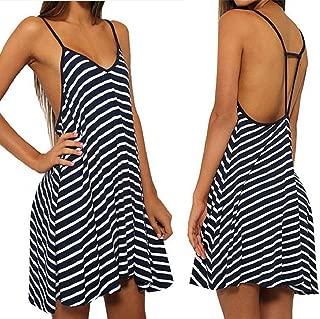 Sexy Women Black and White Stripes Spaghetti Strap Long Tops