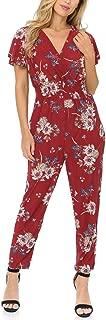 Auliné Collection Womens Short Cap Sleeve V-Neck Long Pants Romper Jumpsuit