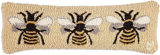 Chandler 4 Corners Beautiful Handmade Decorative Design Hand Hooked Bumblebee Wool Pillow 8x24 Zippered Velveteen Backing