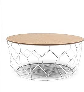 OCHS Big Basket Coffee tables with Circular Natural Wood Veneer top and Matt White Metal Frame