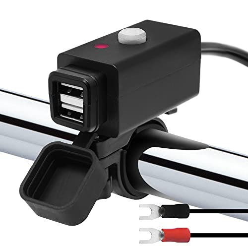 GoldenHawk Waterproof Motorcycle 5V USB 2.1A Charger Adapter Kit Cable, 12V Car Cigarette Lighter