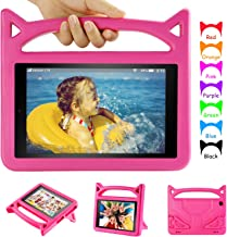 Amazon Fire 10 Tablet Case-Auorld Light Weight Kids Proof Case with Stand for All New Kindle Fire HD 10 Tablet(5th/7th Generation, 2015/2017 Released)-Pink