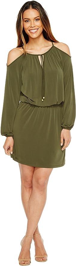Matte Jersey Cold Shoulder Dress