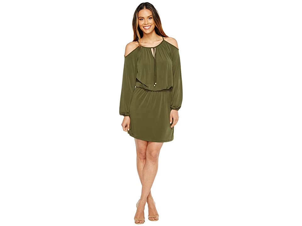 MICHAEL Michael Kors Matte Jersey Cold Shoulder Dress (Ivy) Women