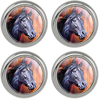Black Horse Portrait Painting Indigo Night Metal Craft Sewing Novelty Buttons - Set of 4
