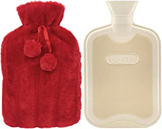 Premium Classic Rubber Hot Water Bottle and Luxurious Faux Fur Plush Fleece Cover w/Pom Pom Decor (Red)