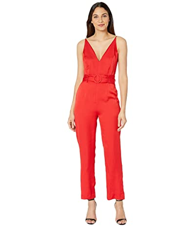 WAYF Trista Belted Jumpsuit (Red) Women