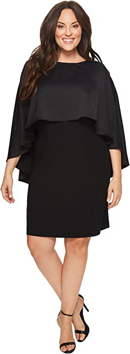 Vince Camuto Specialty Size - Plus Size Cape Overlay Matte Shine Crepe Dress
