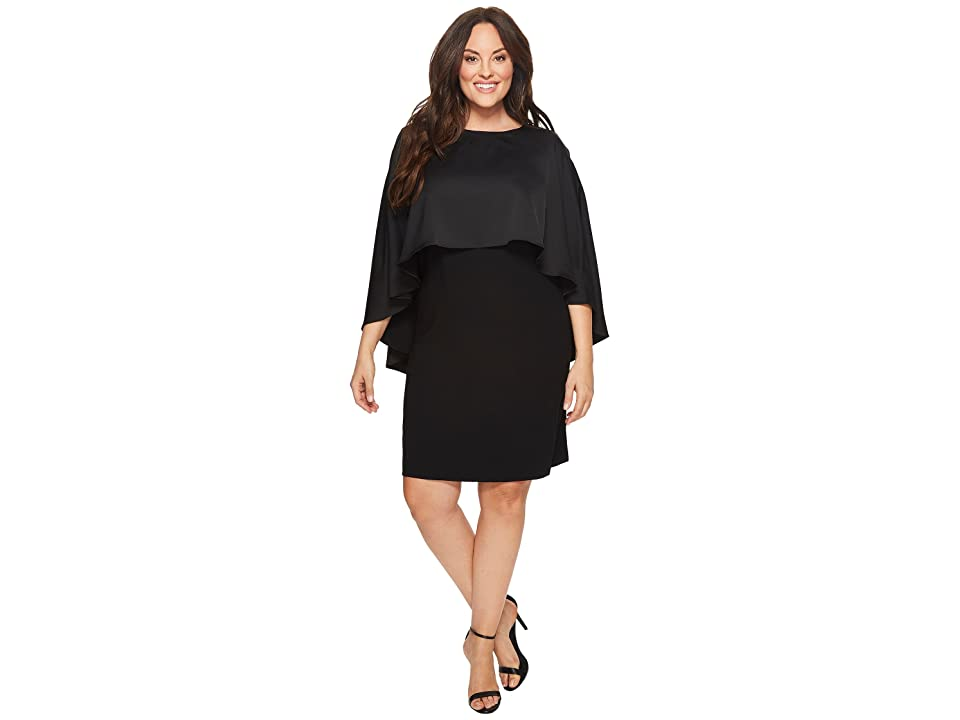 Vince Camuto Specialty Size Plus Size Cape Overlay Matte Shine Crepe Dress (Rich Black) Women