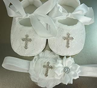 Christening Shoes and Headband Set, White Lace Baptism Footwear with Small or Large Rhinestone Cross, Soft Crib Wedding Slippers, 1st Birthday, Photos, Sizes: Newborn-18 mos, USA Made