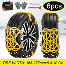 soyond Snow Chains Car Anti Slip Snow Tire Chains Adjustable Anti-Skid Chains Car Tire Snow Chains for Car/SUV/Trucks-Set of 6 Width 165-275mm/6.4-10.9''