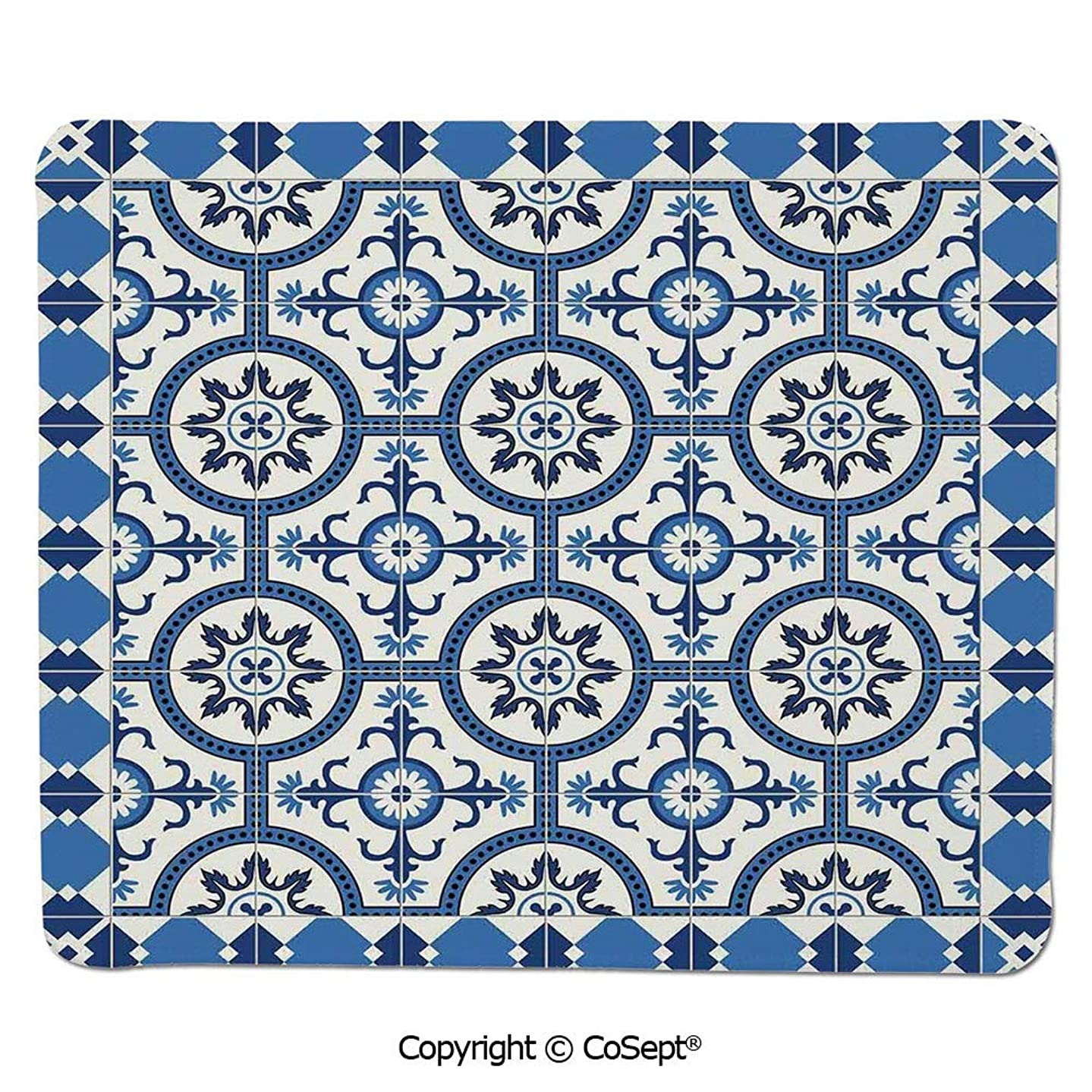 Non-Slip Rubber Base Mousepad,Oriental Turkish Style Inspired Arabesque Mosaic Motifs in Classic Retro Design,for Computer,Laptop,Home,Office & Travel(7.87