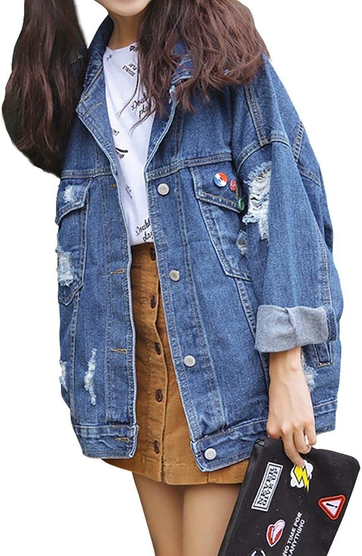 TSINYG Women's Loose Long Sleeves Boyfriend Denim Jacket Jacket Casual Coat ( color   bluee , Size   L )