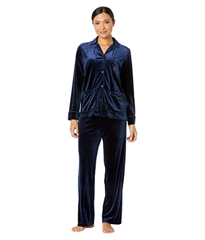 LAUREN Ralph Lauren Velvet Long Sleeve Notch Collar Pajama Set (Navy) Women
