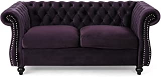 Christopher Knight Home Karen Traditional Chesterfield Loveseat Sofa, BlackBerry and Dark Brown, 61.75 x 33.75 x 27.75