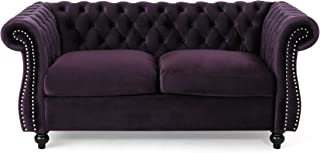 Christopher Knight Home 306026 Karen Traditional Chesterfield Loveseat Sofa, BlackBerry and Dark Brown, 61.75 x 33.75 x 27.75