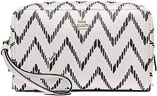 Coach Women's Boxy Crossgrain Leather Cosmetic Case w/Geo Chevron Print (F67554)