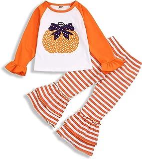 Ruffle Long Sleeve Turkey T-Shirt Top+Plaid Suspender Skirt Dress Outfit GuguBird Thanksgiving Toddler Girls 3PCS Skirt Set