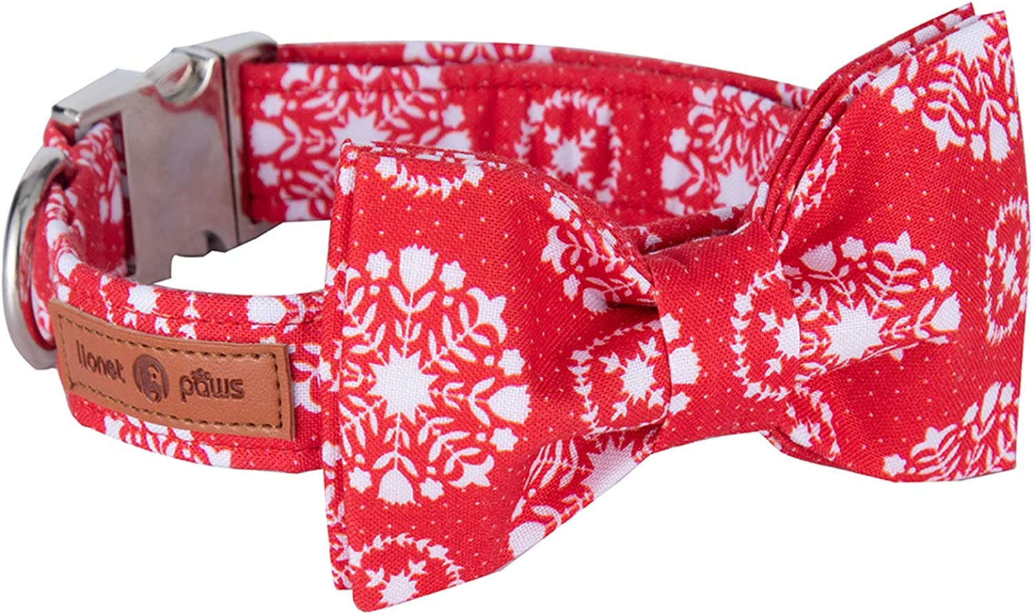 Lionet Paws Christmas Dog Collar with Bowtie Durable Adjustable Handmade Comfortable Cotton Bowtie Dog Collar Cat Collar with Metal Buckle for Small Dogs Cats,Party,Festival,Holiday Style,Neck 1016in