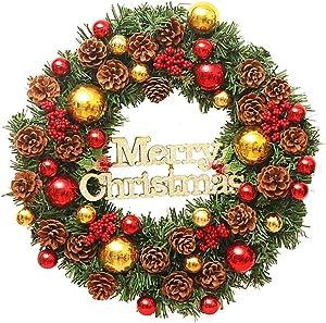 CATLXC Déco Noël Couronne De Noël 60cm Épinette Verte Fruits Rouges Pomme De Pin Flash Boule De Noel - Décoration De Noël Grandes Guirlandes Fleurs Artificielles