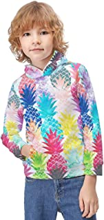 Kid's Novelty Sweater Hawaiian Tropical Pineapple Thicken Hoodies Warm Hooded Pullover Top Sweatshirt-