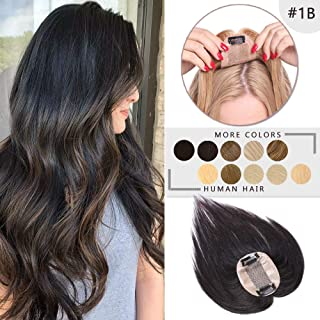 100% Real Human Hair Silk Base Top Hairpiece Clip in Hair Topper for Women Crown in Hand-made Toppee Middle Part with Thinning Hair Loss Hair #1B Natural Black 6''15g