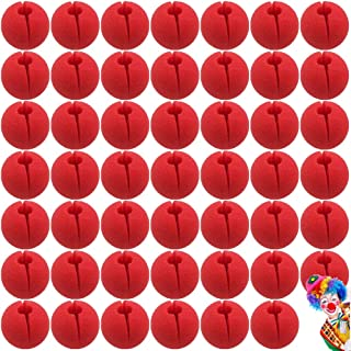Lwestine 48Pcs 5cm Red Clown Nose Foam Circus Comic Nose Mask Party Supplies Halloween Accessories Costume Magic Dress Party Supplies