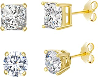 Womens Cubic Zirconia Round and Princess 2 pair Stud Earring Set in Sterling Silver