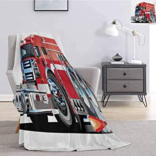 Luoiaax Cars Faux Fur Blanket Warm Cozy Big Fire Truck with Emergency Equipments Universal Safety Rescue Team Engine Cartoon Soft Throw Blankets for Adults W70 x L84 Inch Red Silver