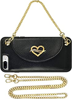 JLFCH iPhone 8 Plus Wallet Case, iPhone 7 Plus Wallet Case with Card Slot Holder Leather Handbag Detachable Wrist Strap Long Crossbody Chain Purse for iPhone 7/8 Plus 5.5 inch - Black