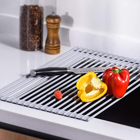 U-Taste Scolapiatti da Lavello, Roll Up Dish Rack Multiuso Pieghevole in Acciaio Inox da Cucina Lavello Rack Bicchiere per Frutta Verdura(Grigio, 52cm x 33cm)