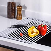 U-Taste Roll Up Dish Drying Rack 41.9 by 34.8 CM, Over The Sink Multipurpose Dish Drainer with Silicone Coated and...
