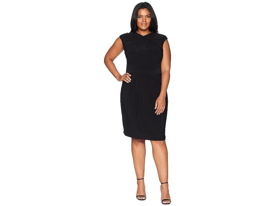 Adrianna Papell Plus Size Matte Jersey Sheath Dress (Black) Women