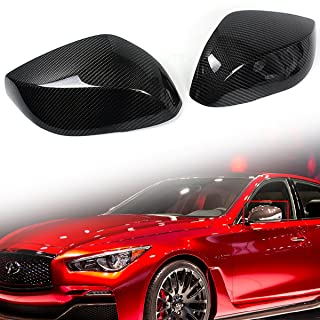 Cuztom Tuning Fits for 2014-2019 Infiniti Q50 Q50S Q60 Q60 RS Real Carbon Fiber Side Mirror Cap Covers - Replacement Type