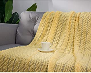 LALIFIT Throw Blanket with Tassel Solid Soft Sofa Couch Cover Decoration Knitted Blankets Gifts for Home Decorate 50 x 60(Bubble Yellow)