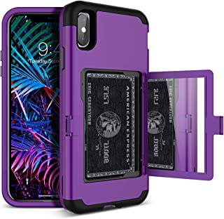 Best iPhone Xs Max Wallet Case - WeLoveCase Defender Wallet Card Holder Cover with Hidden Back Mirror Heavy Duty Protection Three Layer Shockproof Armor Full Protective Case for iPhone Xs Max - Purple Review