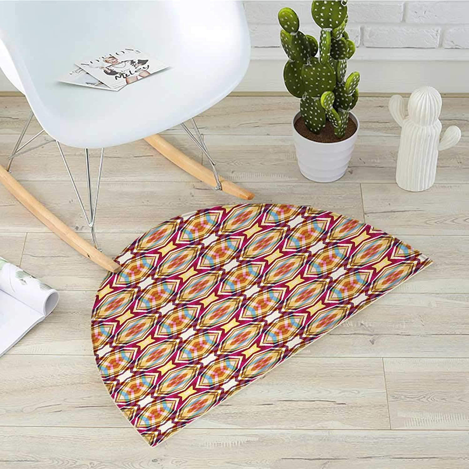 Abstract Semicircular CushionRetro Modern Ornament with Vibrant colors Star Figures Stripy Stylized Pattern Entry Door Mat H 39.3  xD 59  Multicolor