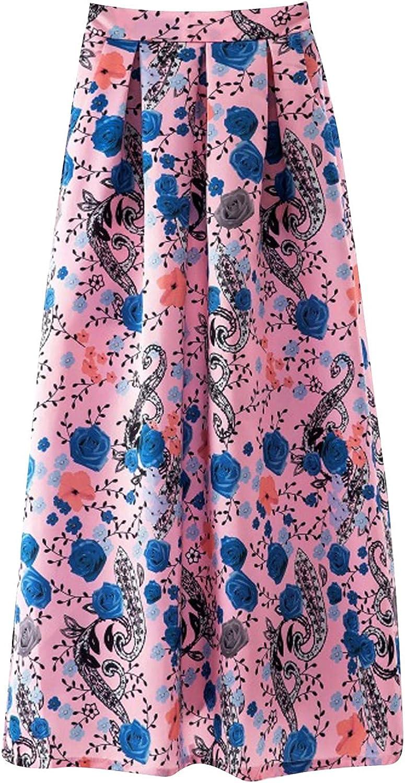 Women's Maxi Skirt Pleated Retro Long Pleated Slim High Waist Half Skirt Boho Summer Skirt